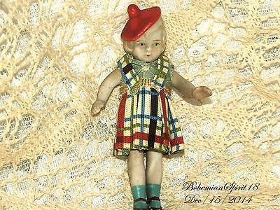 Antique Japan Miniature Bisque Double Jointed 4'' Red Hat Hand Sewn Dress Doll