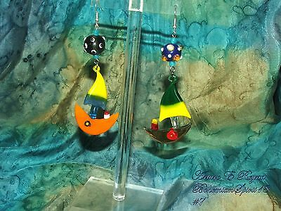 Arturo E.Reyna OCEAN SCENE LAMPWORK BEADS BLOWN GLASS CHARMS BOAT EARRINGS