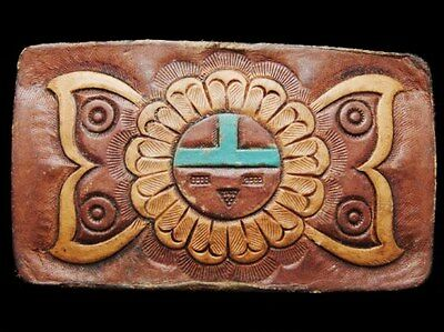 II19143 VINTAGE 1970s ***TOOLED LEATHER ARTWORK*** SOUTHWESTERN DESIGN BUCKLE