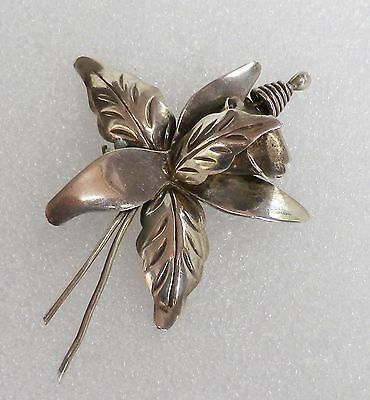 Vintage TAXCO Mexico Sterling Silver ORCHID FLOWER Pin Brooch Signed DS  7 grams