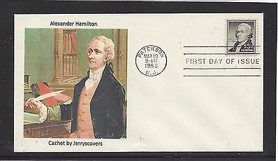 Alexander Hamilton $5.00 Fdc 1956 Paterson, New Jersey Only One Made