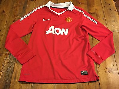 MANCHESTER UNITED Boy's Red Nike AON LS Jersey BECKHAM- Size Large 12/13 years