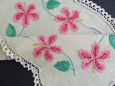 Stunning Unused Hand Embroidered Centre Doily - Pink Lilies - Lace Edging