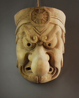 23*15*18cm Hand Carved Wood Japanese Noh Tengu Monster Mask