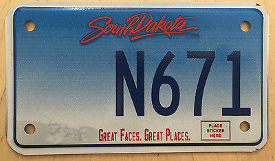"""South Dakota Great Faces  Great Places  Motorcycle License Plate  """" N 671 """""""