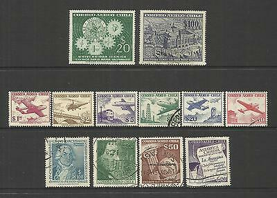 Chile ~ 1956-58 Air Mail Issues (Postally Used) Part Sets