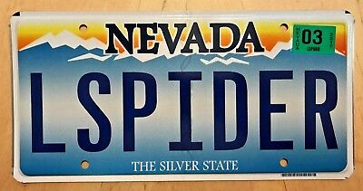 """Nevada Vanity License Plate """" L Spider """"  Fiat Sports Car Insect Insects Spiders"""