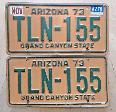 "Arizona 1973 1978 Passenger License Plate Plates Matching Pair "" Tln 155 "" Az 73"