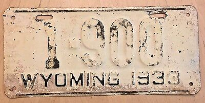 "1933 Wyoming Low Number 4 Digit License Plate "" 1 900 ""  Wy 33 Wyo"