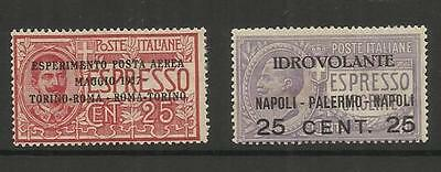 Italy Italia ~ 1917 Air Mail Express Post ~ Overprints (Mint Mh)