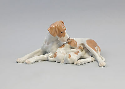 7940002 Porcelain figurine Dog with Puppies Pointer Bing & Groendahl Lauritz