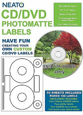 Neato CD/DVD Labels, Photomatte - Photo Quality Finish - 100 Disc Labels and 200