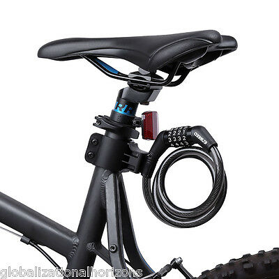 Bike Chain Lock 4-Digit Reset Number Combination Cable Lock Bicycle Anti-Theft