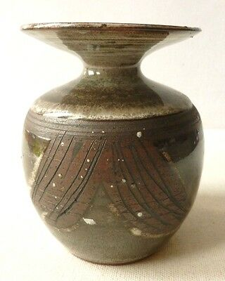 Briglin Pottery - unusual hand painted flared rim studio pottery vase