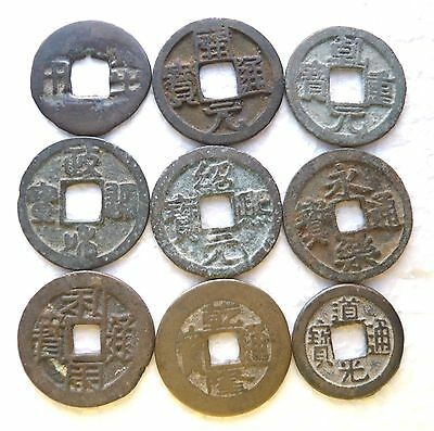 China, a lot of 9 pcs ancient bronze, brass 1-cash coins, many dynasties
