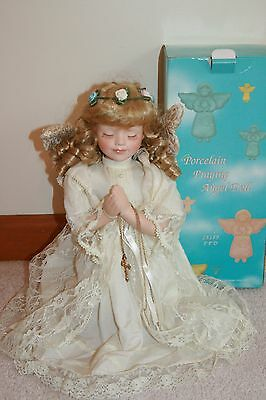 Praying Angel porcelain doll w/ crucifix curly blonde hair w/ box