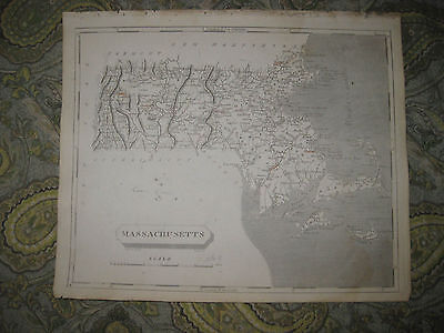 Antique 1805 Massachusetts Arrowsmith And Lewis Copperplate Map Boston Nantucket