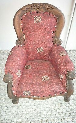 Gorgeous Antique Reproduction Child's-Children's Victorian Side Chair-Toile