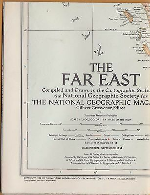 NATIONAL GEOGRAPHIC MAP ~ THE FAR EAST w/ CHINA ~ Sept 1952 ~VERY NICE CONDITION