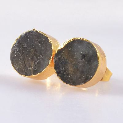 10mm Round Natural Labradorite Stud Earrings Gold Plated H88585