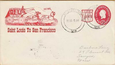 ST. LOUIS to SAN FRANCISCO ~ 1958 reproduction Cover of OVERLAND MAIL CACHET