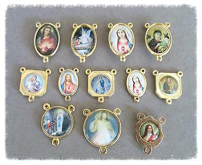 Lot 12 Rosary Centers Centerpieces Making Rosaries ITALY Parts SALE Gold COLOR