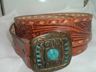 VINTAGE TOOLED MEXICO LEATHER BELT WITH TURQUOISE BELT BUCKLE Size 34