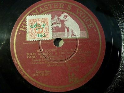 "BUNK JOHNSON & HIS NEW ORLEANS BAND ""Snag It / High Society"" HMV 78rpm 10"""