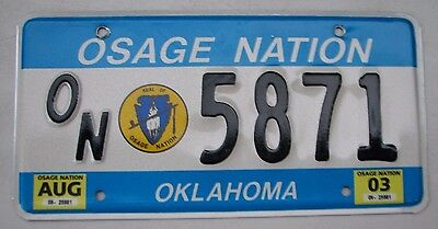 "Oklahoma 2003  Osage  Nation Indian Tribal  License Plate "" On 5871 "" Ok"