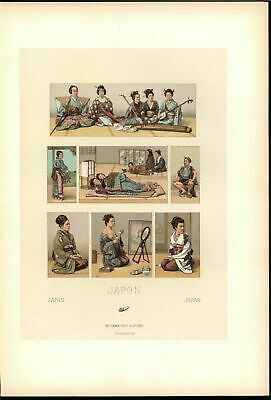Japanese Woman Nudity Musicians Grooming c.1880 antique color lithograph print