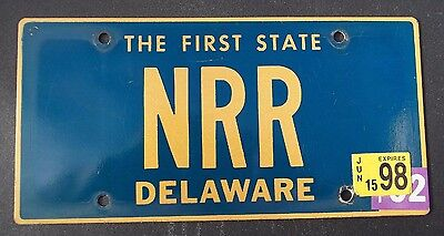 "Delaware Vanity License Plate "" Nrr "" Nick Nate Nancy Rogers Ross Russell Ryan"