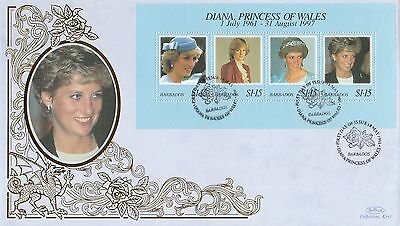 (02010) Barbados Benham FDC Princess Diana Death minisheet 18 May 1998