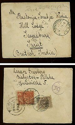 Poland: censored 1921 cover from Byalostok to Surat, India (!)