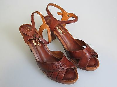 """WOODWORKS By Thom Mcan Vintage Wooden Leather 3.5"""" Heels Shoes Women's US Size 5"""