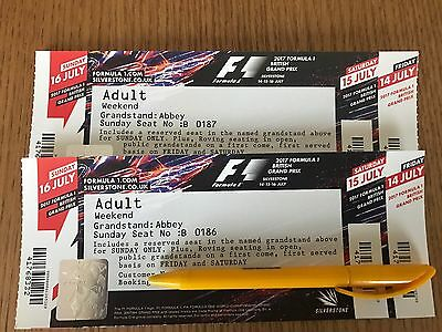 2 x F1 British grand prix tickets Silverstone 2017 Formula 1