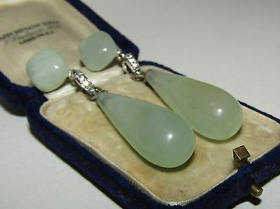Long,antique, Chinese Sterling Silver Earrings With Fine Jade And White Sapphire