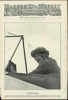 Excelsior Armstrong Drexel Early Aviation Record 1910 antique decorative print
