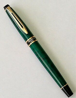 Vintage Waterman Expert Ball Point Pen Green Marble with Gold Trim circa 1990's