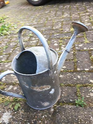 Vintage 1 Gallon Galvanised Watering Can. Water Tight. With Rose