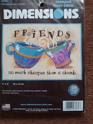 """STAMPED CROSS STITCH KIT FRIENDS CHEAPER THAN A SHRINK DIMENSIONS 7"""" x 5"""" NEW"""