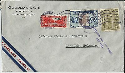 Airmail cover Jusqu'a New York on 1937 Guatemalan commercial cover to Holland