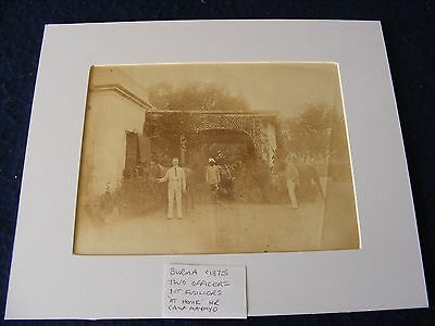 ANTIQUE PHOTO MILITARY BURMA OFFICERS 1st FUSILIERS AT HOME SERVANT 1875 MAYMYO