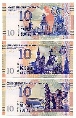 POLAND 3 x 10 Zlotych [2017]-Set of 3 Crisp UNC Privately Issued Specimen Notes