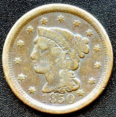 """1850 United States """"Braided Hair"""" 1 Cent Coin"""