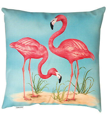 """Two Flamingos Indoor/Outdoor 19"""" Climaweave Square Pillow"""
