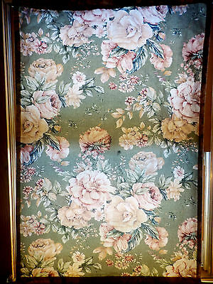 Vintage Cottage Chic Floral 1940s Barkcloth Curtain Panel Roses Flowers