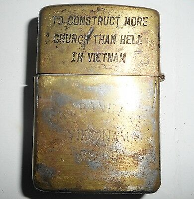 1966 - Original Zippo Lighter - Cam Ranh Bay - 1968, 69 Tour - Vietnam War, 8752