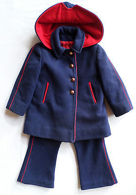 Vintage 1950s Boys 100% Wool Pants & Jacket Outfit, Navy/Red, Little Nugget VGC