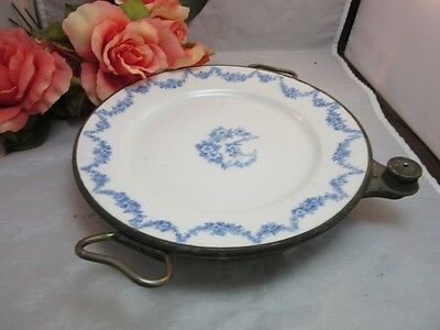Vtg 1912 Empress Ware warming dish w/ blue and white pottery plate