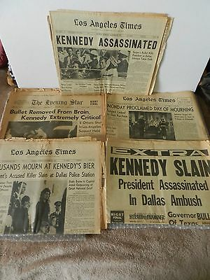 kENNEDY HISTORICAL SLAIN ASSASSINATION BULLET REMOVED & MOURNING NEWSPAPER LOT